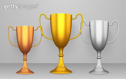 Winner cups realistic set, reward and achievement trophy