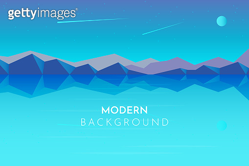 Abstract image of a night moon over the mountains at the background and river or lake at the foreground. Mountain landscape. Vector illustration