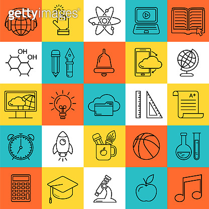 Online education seamless pattern with linear icons. E-learning, online course, webinar, e-book, video conference, home studying. Modern line style vector illustration. Stay home background.