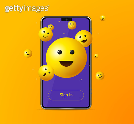 Realistic Detailed 3d Sign in App Yellow Emoji Smile Mobile Phone. Vector