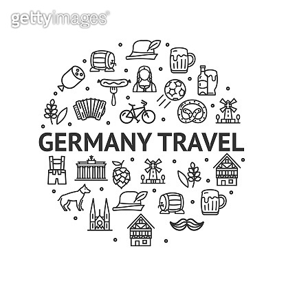 German Culture Round Design Template Contour Lines Icon Concept. Vector