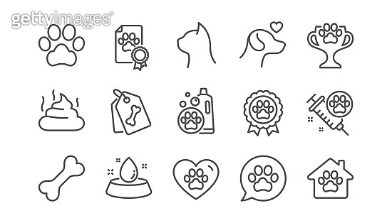 Pets line icons set. Dog care, veterinary and cat food icons. Vector