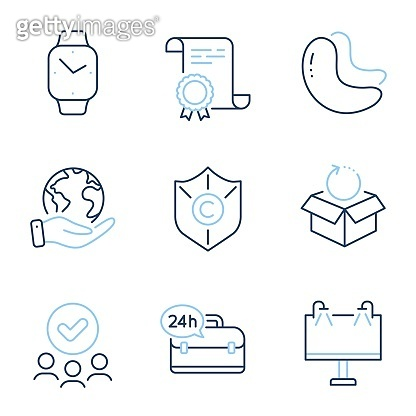 24h service, Copyright protection and Smartwatch icons set. Return package, Road banner and Cashew nut signs. Vector