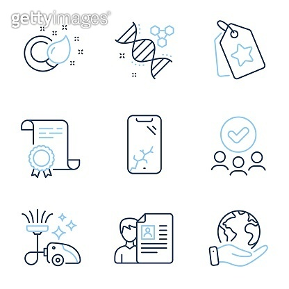 Smartphone broken, Job interview and Loyalty tags icons set. Vector