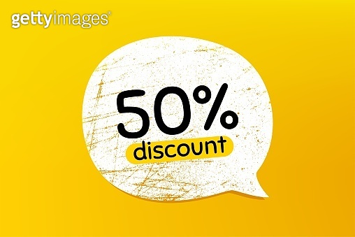 50% Discount. Sale offer price sign. Vector
