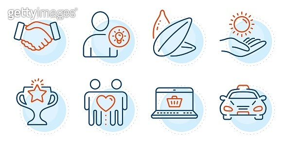 User idea, Friends couple and Victory icons set. Sunflower seed, Online shopping and Handshake signs. Vector