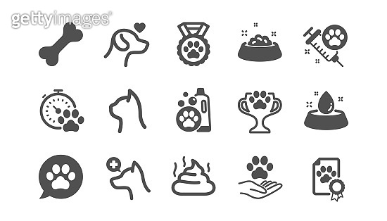 Pets icons set. Veterinary, dog care and cat food icons. Vector