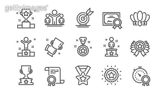 Success line icons set. Goal target, certificate, winner cup. Reward, medal with ribbon, crown. Vector