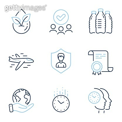 Security agency, Water bottles and Time management icons set. Time, Organic product and Airplane signs. Vector