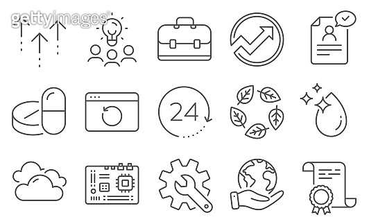 Set of Science icons, such as Portfolio, Swipe up, Motherboard. Vector