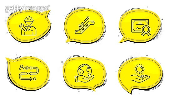 Escalator, Journey path and Sun protection icons set. Repairman sign. Vector