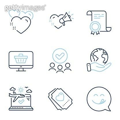 Web shop, Love ticket and Love message icons set. Yummy smile, Heart and Airplane travel signs. Vector