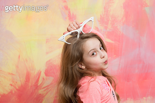 glasses on girl kid with cute face.