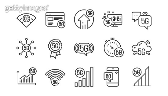 5G technology line icons set. Mobile network, phone connection, fast internet. Hotspot signal. Vector