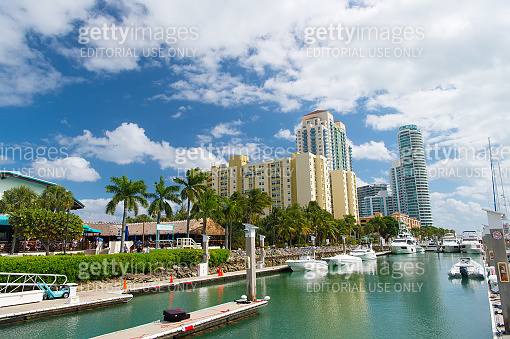 View of luxurious boats and yacht docked in a Miami South Beach Marina. Reach life concept