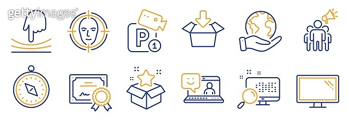 Set of Technology icons, such as Elastic, Travel compass, Monitor. Vector