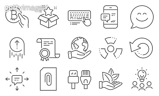 Set of Technology icons, such as Organic product, Computer keyboard, Computer cables. Vector