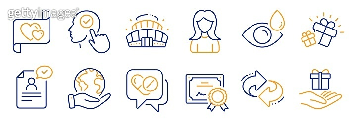 Set of Business icons, such as Medical drugs, Gift, Woman. Vector