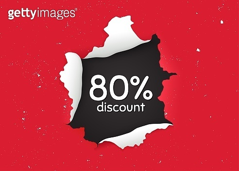 80% Discount. Sale offer price sign. Vector