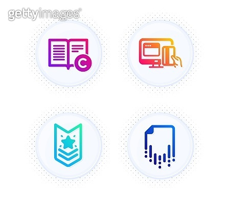 Shoulder strap, Online payment and Copyright icons set. Recovery file sign. Star rank, Money, Copywriting book. Vector
