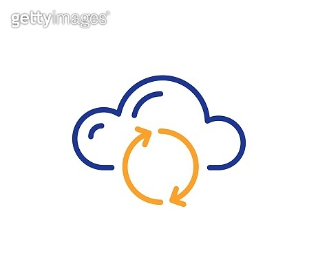 Cloud computing sync line icon. Internet data storage sign. Vector