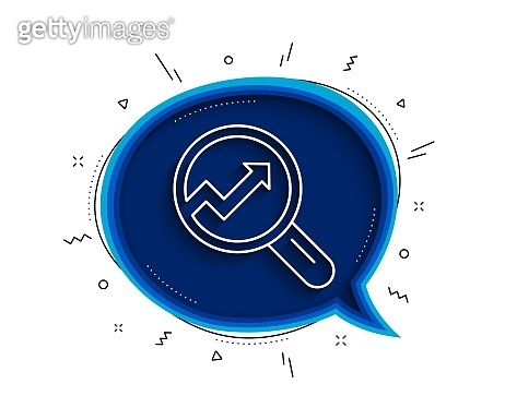 Chart line icon. Report graph sign in magnifier. Vector