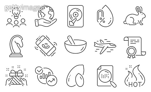 Set of Business icons, such as Statistics, Gift, Animal tested. Vector
