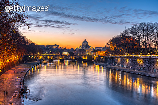 Dramatic sunset over the St. Peters Basilica