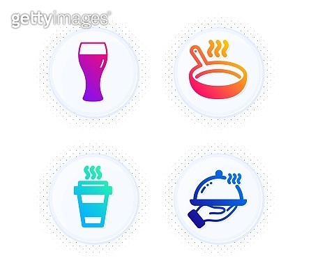 Beer glass, Frying pan and Takeaway icons set. Restaurant food sign. Vector