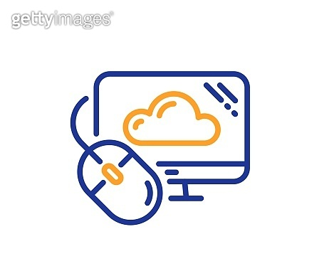 Cloud computing line icon. Internet data storage sign. Vector