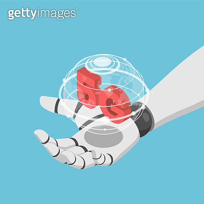 Isometric Ai robot hand holding virtual wolrd and 5g icon