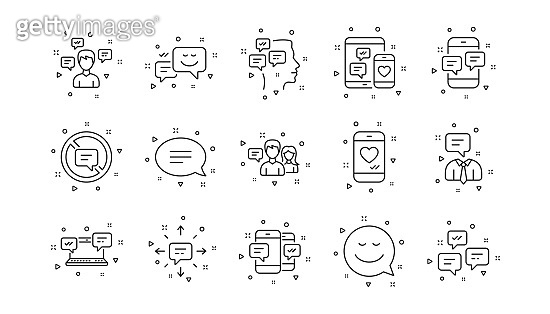 Message and Communication icons. Group chat, Speech bubble and Sms. Linear icon set. Vector