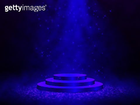3D Render of Abstract Composition with Podium. Studio with Round Pedestal and Space. Futuristic Interior Backdrop for Landing Page, Showcase, Product Presentation