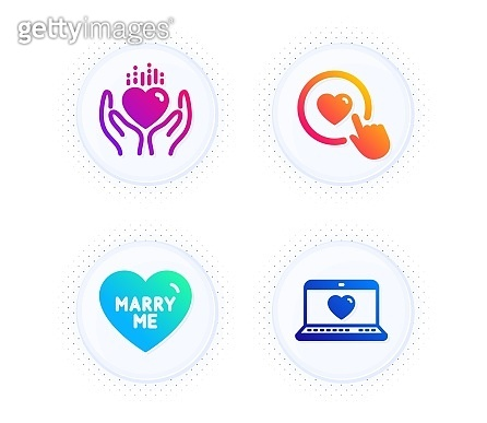 Hold heart, Like button and Marry me icons set. Web love sign. Care love, Wedding, Social network. Love set. Vector