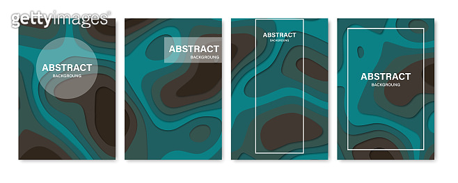 Set of abstract 3D backgrounds. Paper cut shapes. Template for banner, brochure, book cover, booklet design. Vector illustration