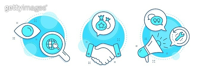 Loyalty points, Recovery tool and Quote bubble icons set. Internet search sign. Vector