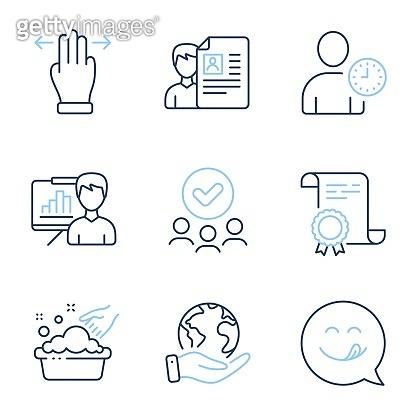 Time management, Presentation board and Multitasking gesture icons set. Vector