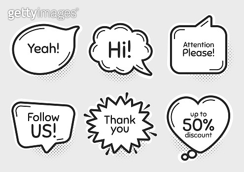 Follow us, 50% discount and attention please. Thank you, hi and yeah phrases. Vector