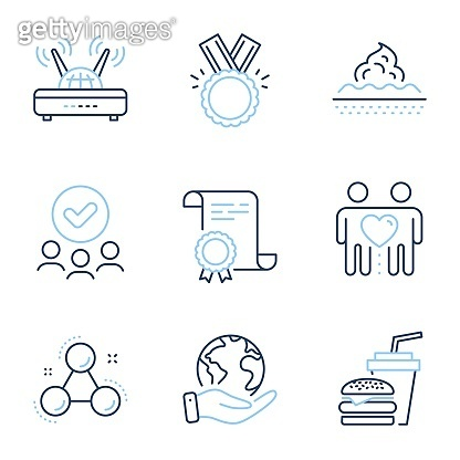Wifi, Friends couple and Honor icons set. Hamburger, Chemistry molecule and Skin care signs. Vector