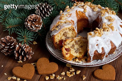 Christmas cake  with several ingredients