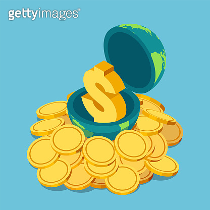 Isometric golden dollar sign inside the world on pile of coin