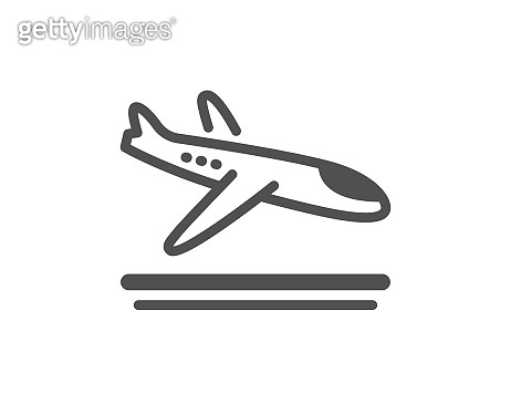 Airport arrivals plane icon. Airplane landing sign. Vector