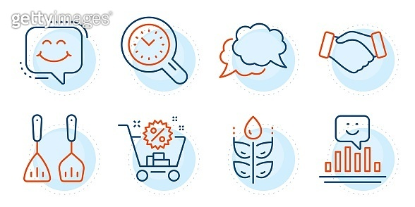 Smile chat, Time management and Chat message icons set. Smile, Handshake and Gluten free signs. Vector