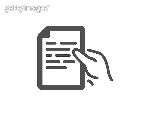 Document icon. Hold doc file page sign. Vector