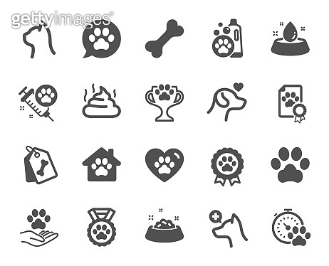 Pets icons. Veterinary, dog care and cat food icons. Vector