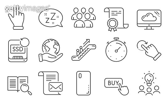 Set of Technology icons, such as Timer, Buy button, Cloud storage. Vector