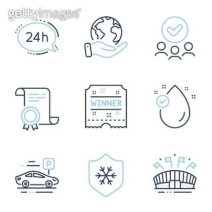 Winner ticket, Sports arena and Car parking icons set. 24h service, Clean skin and Vitamin e signs. Vector