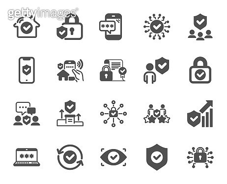 Security icons. Cyber lock, password, unlock. Guard, shield, home security system. Vector