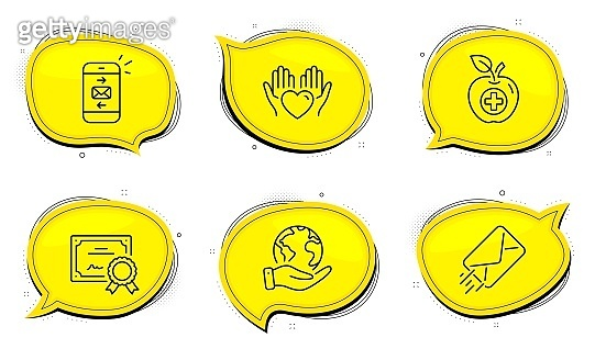 E-mail, Hold heart and Mail icons set. Medical food sign. Mail delivery, Care love, Smartphone communication. Vector