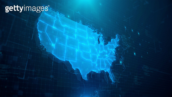 Map of USA with states on blue digital background
